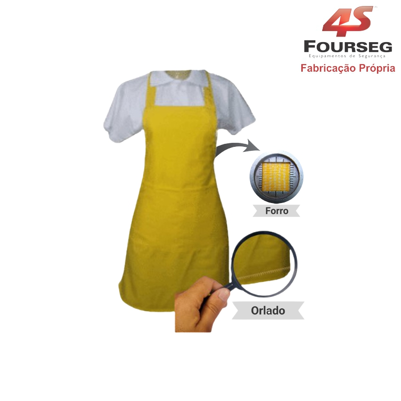 Avental PVC Amarelo Orlado FOURSEG