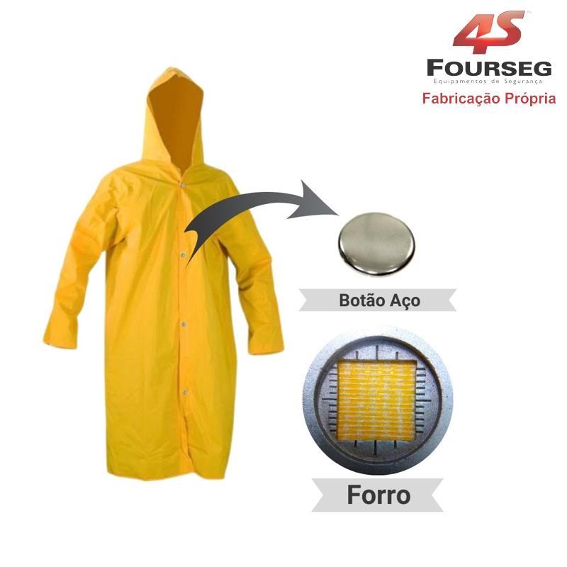 Capa de Chuva PVC Amarelo Botão Aço FOURSEG