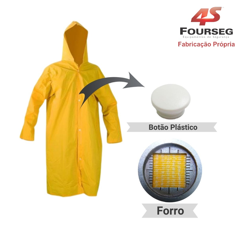 Capa de Chuva PVC Amarelo Botão Plástico FOURSEG