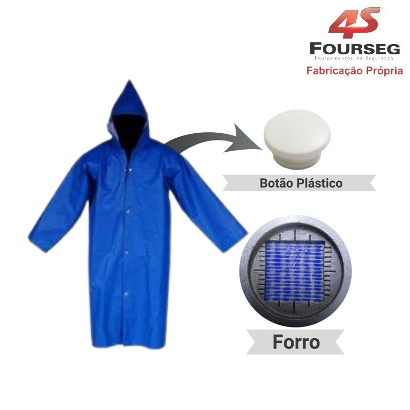 Capa de Chuva PVC Azul Botão Plástico FOURSEG