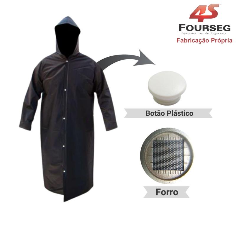 Capa de Chuva PVC Preto Botão Plástico FOURSEG