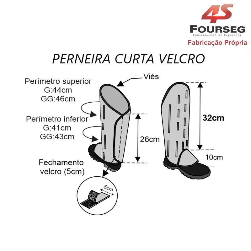 Perneira Curta Velcro com Fecho Bula FOURSEG