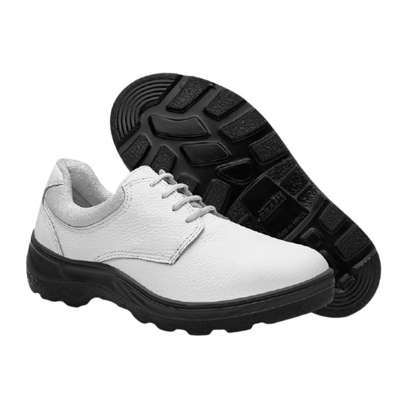 Sapato de Segurança em Vaqueta Branco com Cadarço